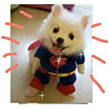 Sanlise New Pet Cat Dog Puppy Cotton Clothes Costumes Superman Suit size XS/S/M/L/XL (M)