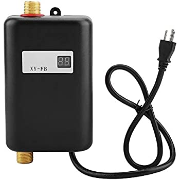 Water Heater, 110V 3000W Mini Electric Tankless Instant Hot Water Heater with LCD Display for Bathroom Kitchen Washing (US Plug)(Black)