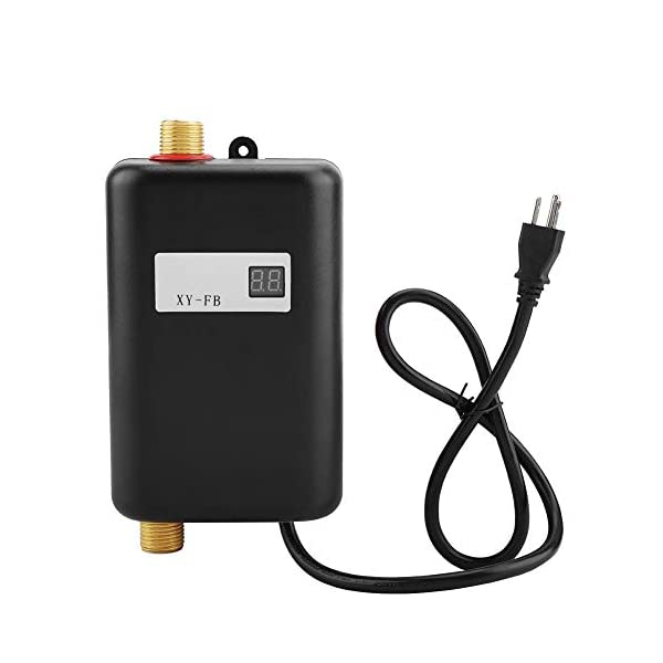 Water Heater, 110V 3000W Mini Electric Tankless Instant Hot Water Heater with LCD...