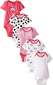 Gerber Baby Girls' 5 Pack Variety Bodysuits