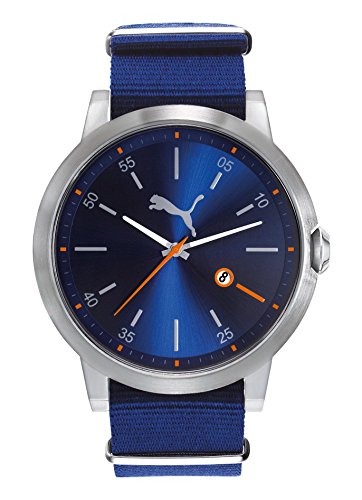 PUMA Men's 'PU10423 Liberated' Quartz Stainless Steel and Nylon Casual Watch, Color:Blue (Model: PU104231003)