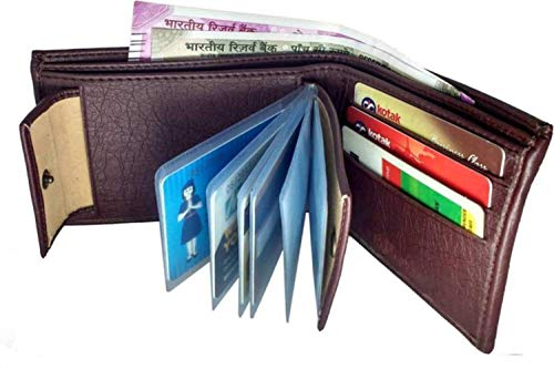 Men's Wallet - Men's Genuine Leather Bifold Wallet with 2 ID Window and RFID Blocking, Letter Print Thin Short Bifold Open, Money Clip Holder, Slim & Stylish Design,12-Card -