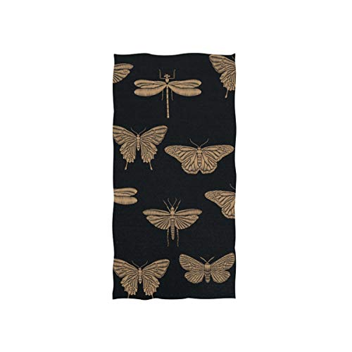 Naanle Golden Dragonfly Butterfly Embroidered Insect Print On Black Soft Bath Towel Absorbent Hand Towels Multipurpose for Bathroom Hotel Gym and Spa - Hand Embroidered Towel Butterfly