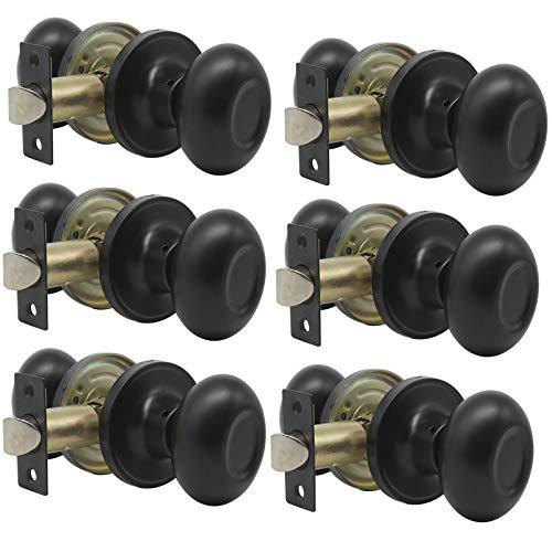 Probrico Passage Door Knobs Handles Interior Hall/Closet Keyless Egg Style Locksets, Oval Door Knob in Flat Black Finish 6 Pack