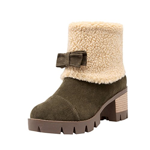 Latasa Womens Bow Mid Chunky Heel Short Suede Winter Snow Boots Dark Green 6H0coUWun