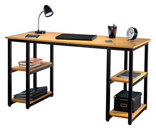 Best Office Home Computer - Fineboard FB-D15-BGBK Home Office Computer Desk Work Table with 4 Shelves, Beige/Black