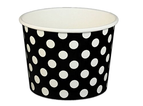 Black Cat Avenue Paper Ice Cream Cups, Polka Dots, Black, 16 Ounce, 50 Count