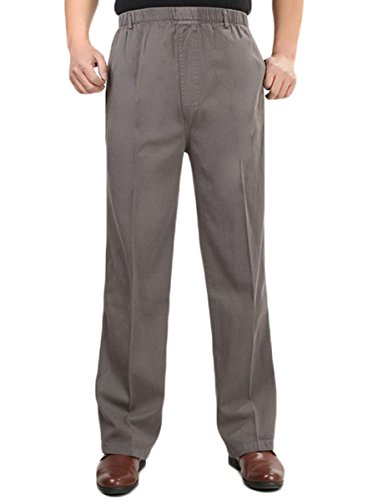 (Soojun Men's Cotton Relaxed Fit Full Elastic Waist Pants, Light Brown, 36W × 32L)
