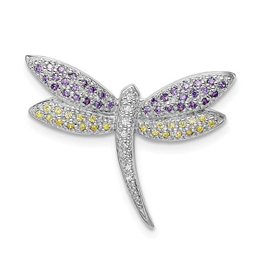 925 Sterling Silver Purple Yellow Clear Cubic Zirconia Cz Dragonfly Pin Fine Jewelry Gifts For Women For Her