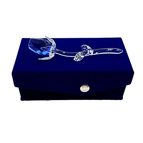Petite Crystal Blue Rose in Velvet Box By Crystal Florida