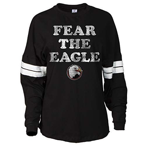 (Official NCAA Bridgewater College Eagles Women's Striped Oversized Football Tee)