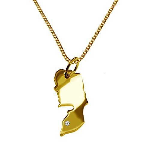 Endroit Exclusif Palestine Carte Pendentif avec brillant à votre Désir (Position au choix.)-avec Chaîne-massif Or jaune de 585or, artisanat Allemande-585de bijoux