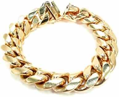 Genuine 14K Yellow Gold 8 Inches Heavy Miami Cuban Link Bracelet