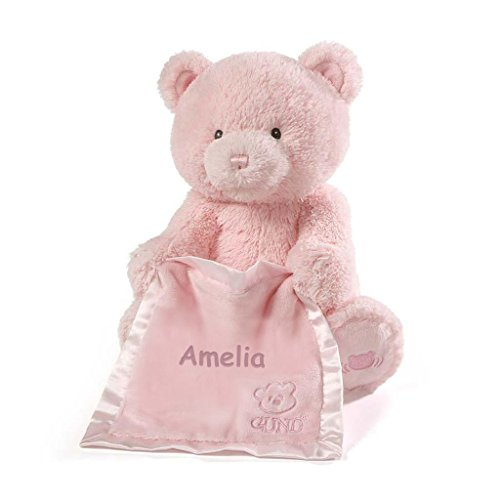 Personalized Gund Peek A Boo Plush Toy (Peek A Boo Bear - Pink)