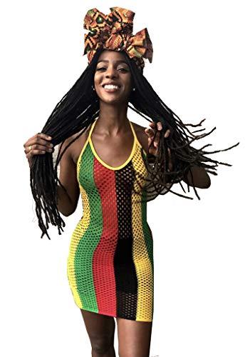 MONASAMA Women Halter Backless Fishnet Mesh Clubwear Cover up Rasta Jamaican Mini Dress Floral S