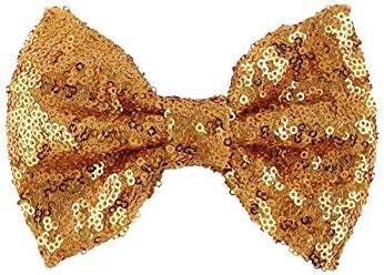 S, Rose Gold Automan Rose Gold Sequins Bow Lovely Flower Girls Big Bow Sash Belt