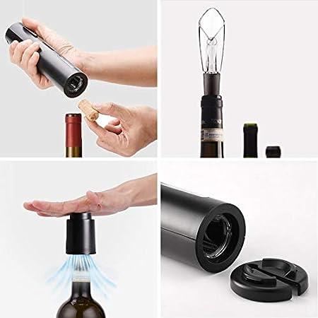 Juego de abrebotellas de vino eléctrico, juego de abridor de vino a pilas y sacacorchos automático inalámbrico con cortador de papel fijado tapón de vacío aireador de vino (estilo 2)