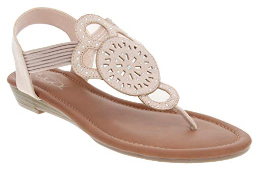 Sugar Women's Catamaran Blushal with Cutouts Rhinestones and Bungee Blush Microsuede 11 ()
