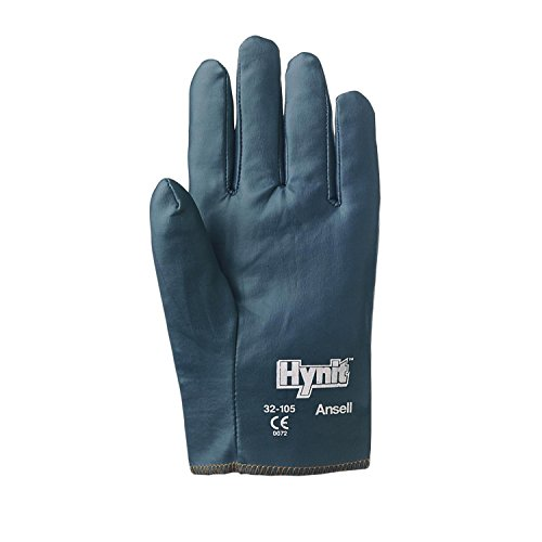 Ansell 32-105-8 Hynit Nitrile-Impregnated Gloves, Size 8, Blue (Pack of -