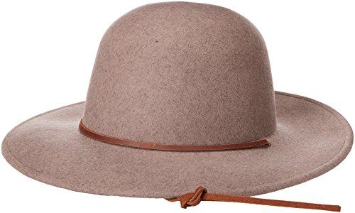 Brixton Men's Tiller Wide Brim Felt Fedora Hat, Heather Natural, (Wide Brim Fedora Hat)