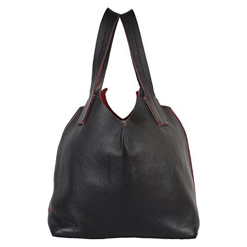 Paint Genuine Leather Dual Coloured Handbag(PT2152HB120)