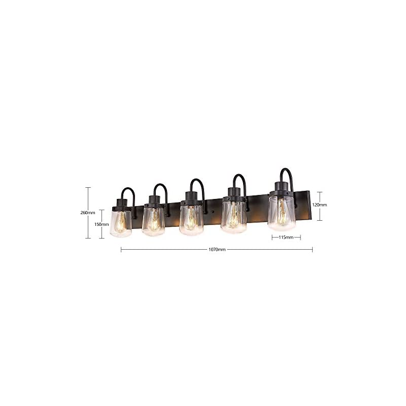 YAOHONG Modern Bathroom Vanity Light 5-Light Lamp in Black, Farmhouse Wall Light Fixture with Clear Glass Shades,Indoor…