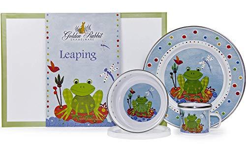 Golden Rabbit - Enamelware Leaping Frog Pattern Child Dinner Set