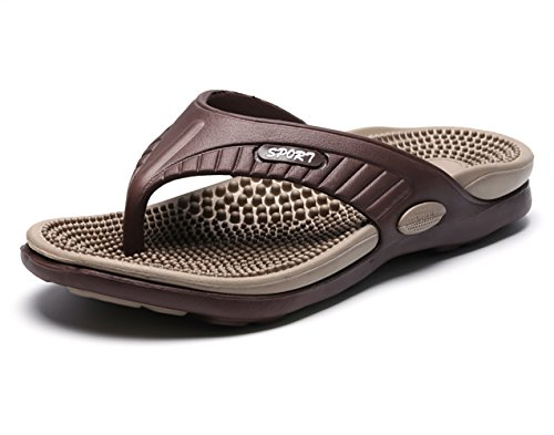 NiNE CiF Men's Beach Pool Flip Flops Summer Rubber Thong Sandals Brown cG6w4AS0