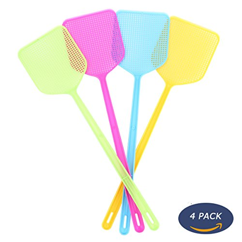 NETCAT Fly Swatter Manual Swat Pest Control sweet-color (4 Pack) ()