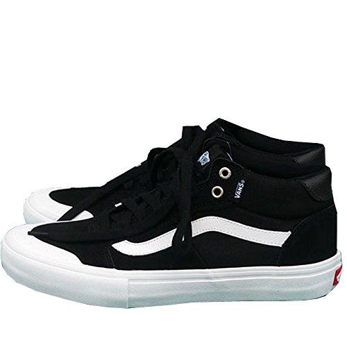 Bestelwagens Stijl 112 Mid Pro Sneakers Heren Canvas Suède Skate Schoenen, Zwart / Wit Zwart / Wit
