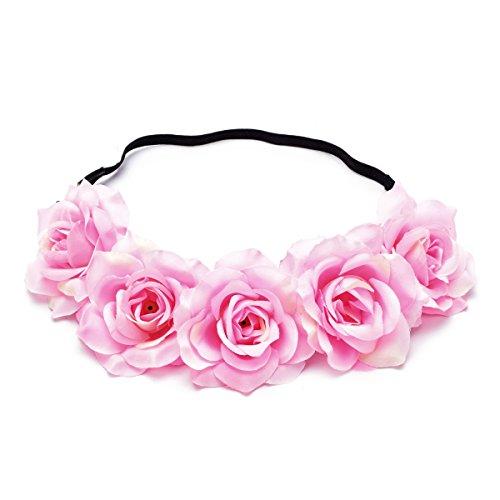 June Bloomy Rose Floral Crown Wreath Boho Flower Headband Bridal Headpiece (Big Pink Hat)