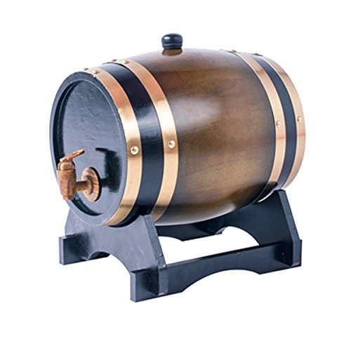 3L Oak Barrel Wooden Barrel for Storage or Aging Wine & Spirits Wine Barrels Wine Holder (Brown) by AIMEE-JL (Image #1)