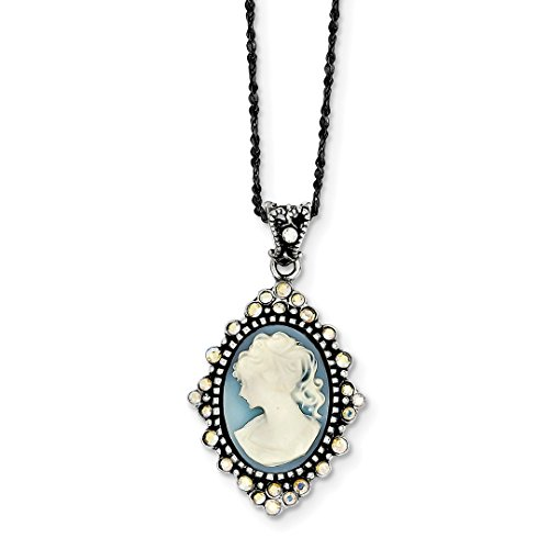 - ICE CARATS 925 Sterling Silver Blue Crystal Cameo Pendant 16 Chain Necklace Inch Charm Fine Jewelry Ideal Gifts For Women Gift Set From Heart
