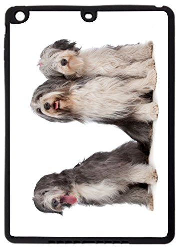 Rikki Knight? Bearded Collie Dogs Design Black Cover Case for iPad Air (1st Version Ipad Air) - TPU Hard Rubber Case with Durable Front Bumper Protection