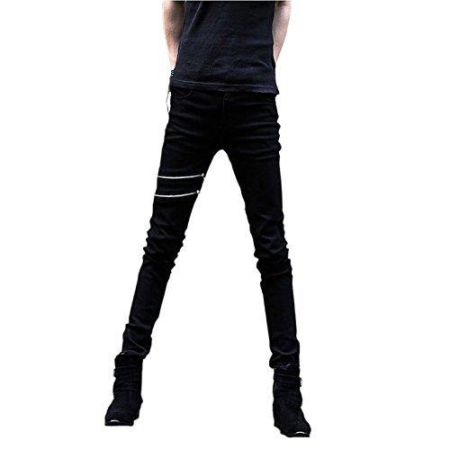 Price comparison product image Meilaier Mens Black Zipper Pencil Pants Slim Fashion Jeans for Men (29)