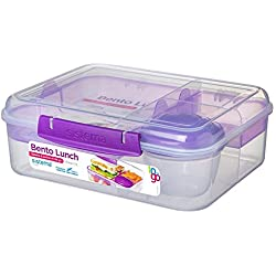 Sistema 21690 Go Collection Bento Box Clear, 6.9 Cup Assorted Color Klips