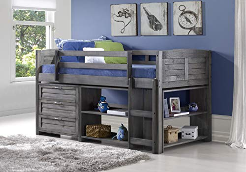 (DONCO KIDS 790AAG Louver Modular Low Loft Bed Combo A A, Twin, Antique Grey)