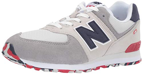 New Balance Boys' Iconic 574 Sneaker Nimbus Cloud/Team red 3.5 W US Big Kid