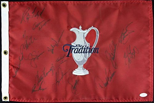 Jack Nicklus & Gary Player (15) Total Golfers Signed Tradition Flag #X23737 - JSA Certified - Autographed Golf Pin ()