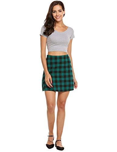 ACEVOG Women's Cotton Plaid A-line Mini Pencil Skirt ( Blackish Green, Size L) (Green Plaid Skirt)