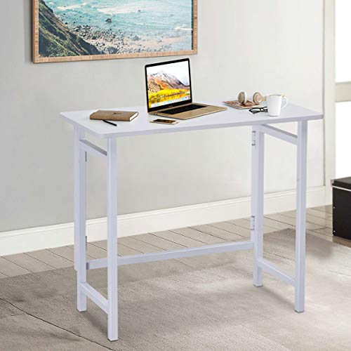 TANGKULA Folding Computer Desk, Simple Metal Frame Computer Desk Modern Home Office Laptop PC Workstation Compact Study Writing Reading Table for Small Space, Folding Table White