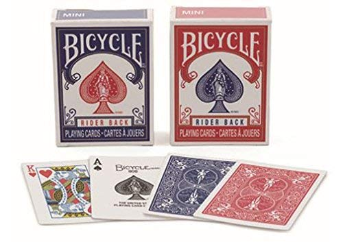 - Bicycle RIDER BACK MINI PLAYING CARD DECKS- 2 DECK SET, ONE RED & ONE BLUE 2.5