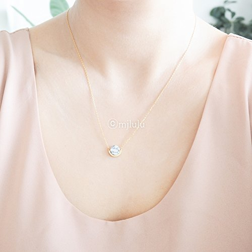 Modern Gem - Modern White Howlite Gemstone Minimal Circle Necklace