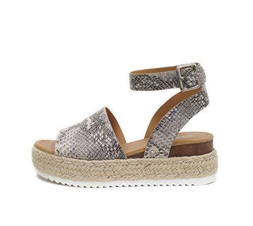 SODA Topic Open Toe Buckle Ankle Strap Espadrilles Flatform Wedge Casual Sandal (8, Beige Python)