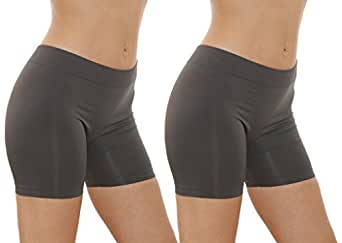 2 Pack Women's Seamless Stretch Yoga Exercise Shorts (One Size, Grey)