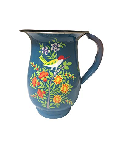 Blue Floral Tumblers and Pitcher (Blue Floral Pitcher) -