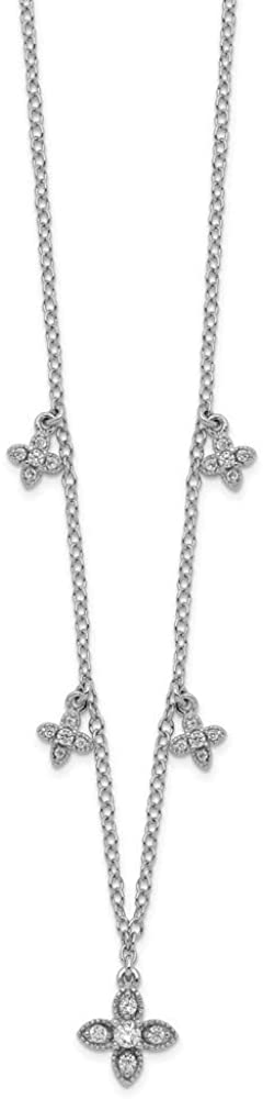 16 Inch 925 Sterling Silver Rhodium-plated Cubic Zirconia Crosses With 2in Ext Necklace