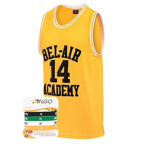 AFLGO The Fresh Prince of Bel Air 14 Academy Jersey Will Smith Include Free Wristbands (Yellow, M)