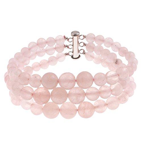 (Pearlz Ocean Triple Strand Rose Quartz Sterling Silver Journey Fashion Bracelet Jewelry for Women)