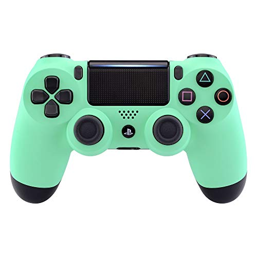 eXtremeRate Mint Green Faceplate Cover, Soft Touch Front Housing Shell Case, Comfortable Soft Grip Replacement Kit for Playstation 4 PS4 Slim PS4 Pro Controller (CUH-ZCT2 JDM-040 JDM-050 JDM-055)